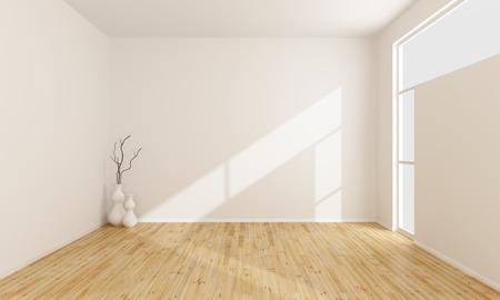 Пустой белый зал с деревянным полом и окна