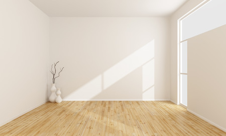 Empty white room with wooden floor and window