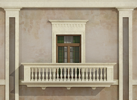 pilaster: Detail of a classic facade with window, balcony and balustrade - 3D rendering Stock Photo