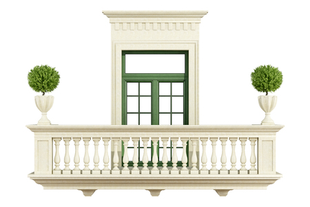 pilaster: Classic balcony balustrade with window isolated on white - 3D rendering