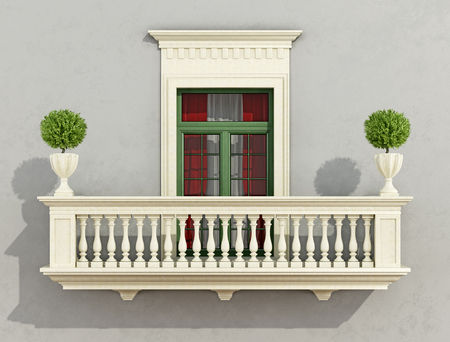 balcony window: Gray classic facade with stone balcony and window -3D rendering