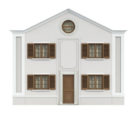 front house: Classic house with wooden windows and front door isolated on white-3d rendering