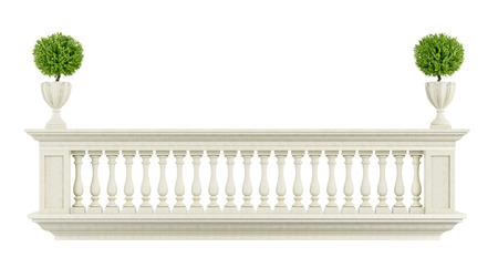 pilaster: Classic balcony balustrade  isolated on white - 3D rendering