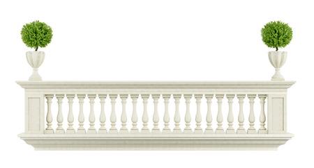 Balcone Classic balaustra isolato su bianco - 3D rendering
