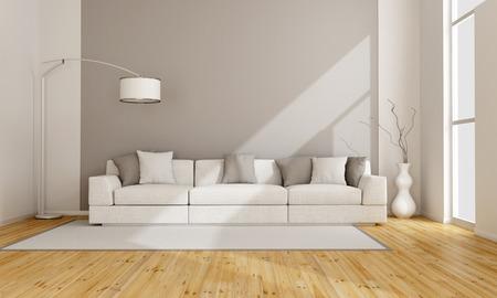 Минималистский гостиная с белым диваном - 3D рендеринг