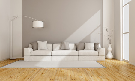 interior room: Minimalist lounge with white sofa - 3D rendering