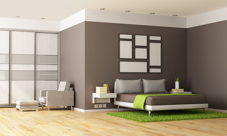 bedroom wall: Brown and green contemporary bedroom - 3D Rendering Stock Photo