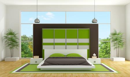 Modern bedroom with minimalist bedroom and wardrobe - 3D Rendering photo