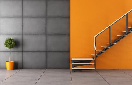 habitacin moderna con escalera y el panel negro de hierro sin muebles rendering d