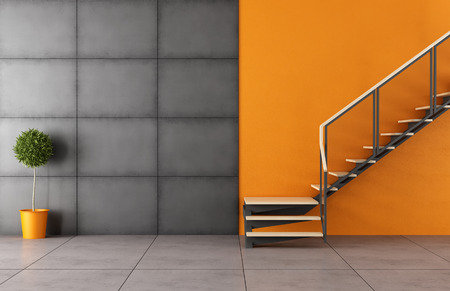 stair: Modern room with staircase and iron black panel without furniture - 3D Rendering Stock Photo