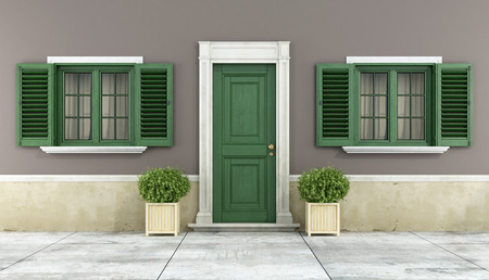 Detail of a classic house with green wooden windows and front door - rendering