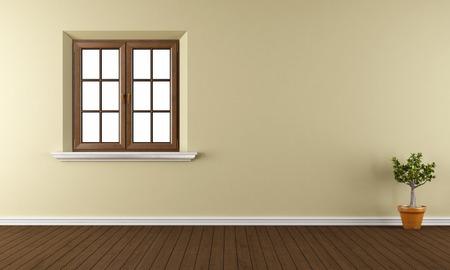 Leerer Raum mit Holzfenster, Parkettboden und Pflanzen - 3D-Rendering