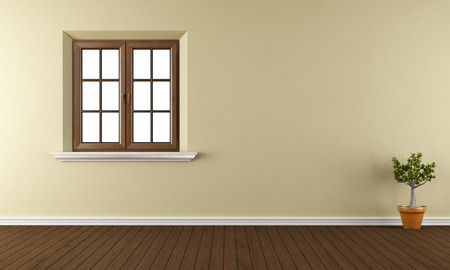 Lege ruimte met houten raam, parketvloer en plant - 3D Rendering Stockfoto