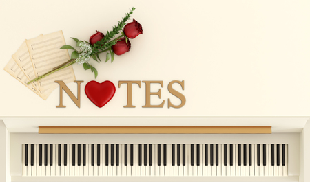 Top view of an upright piano with red roses,music sheet and three dimensional golden text and an heart - 3D Rendering photo