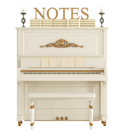 White classic upright piano with books,candles and sheet music isolated on white - 3D rendering Stock Photo
