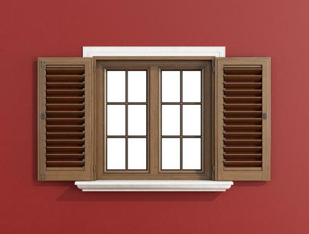 Dettaglio di una finestra in legno con le persiane aperte sulla parete rossa, percorso di clipping su vetro- Rendering 3D Archivio Fotografico - 32895616