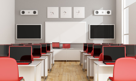 school class: Multimedia classroom with red laptop, screen,whiteboard and speakers - 3D Rendering