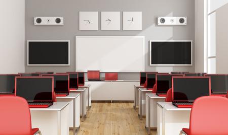 Multimedia Klassenzimmer mit roten Laptop, Leinwand, Whiteboard und Lautsprecher - 3D-Rendering