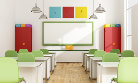 学生 - 3 D なしの近代的なカラフルな教室を表示