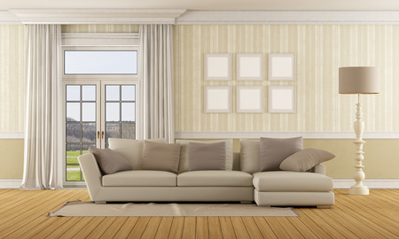 Classic living room with  elegant sofa and closed window - 3D Rendering - the photo on  background is a my photo Stock Photo