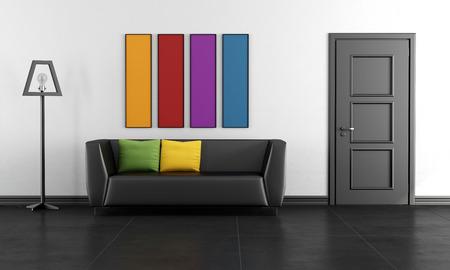 Obývací pokoj s pohovkou, černými dveřmi a barevnými obrazy - 3D vykreslování