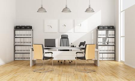 Черный и белый современный офис - 3D рендеринг