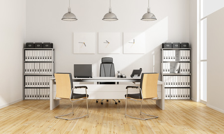 office desk: Black and white contemporary office - 3D Rendering