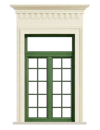 balcony window: window classic balcony with stone portal isolated on white - 3D Rendering Stock Photo