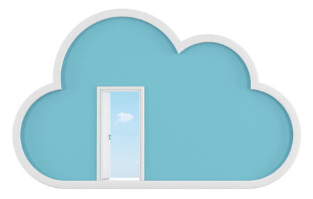 Cloud isolated on white and open door with sky on background - 3D Rendering photo