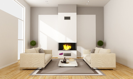 Contemporary Living room with fireplace nad two sofa - 3D Rendering photo