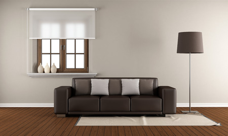 Modern Living room with wooden window and brown sofa on wooden floor - 3D Rendering photo
