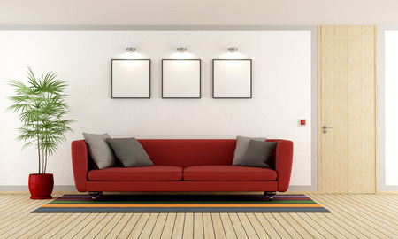 Modern living room with red couch and wooden closed door - 3D Rendering