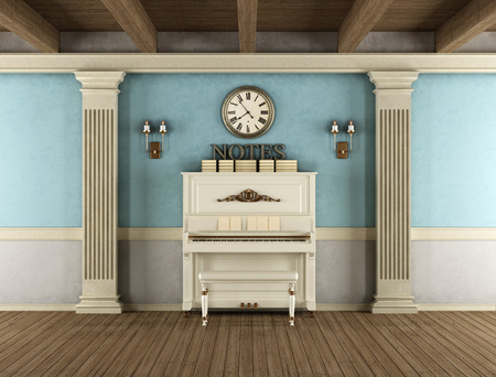 wood ceiling: Vintage interior with upright piano, stone pilaster and wooden ceiling