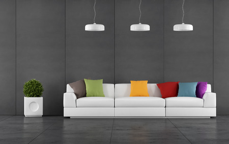 slate: Black living room with wall blackboard paneling and white sofa with colorful cushions - 3d Rendering Stock Photo
