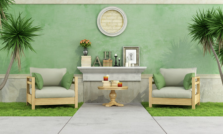 Green garden with two armchair on grass against old wall - 3D Rendering
