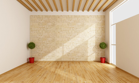 Empty white room with wooden floor, window and  stone wall - 3D rendering