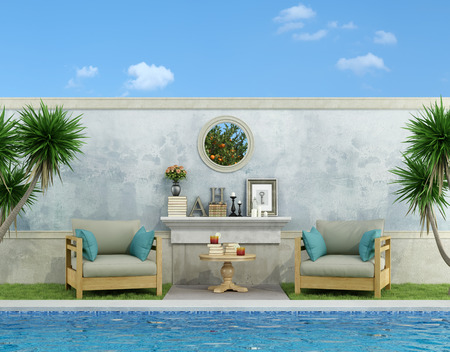 old furniture: Blue garden with two elegant armchair near the pool - 3D Rendering