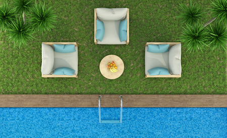 garden furniture: Top view of a garden with armchairs on the lawn and pool - 3D Rendering Stock Photo