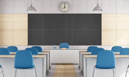 Modern classroom with blue chair and large balckboard without student - 3D Rendering
