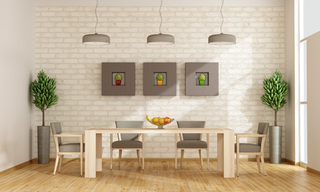 Contemporary dining room with wooden table and chairs - rendering