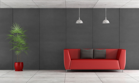 Contemporary living room with wall blackboard paneling and red couch- 3d Rendering