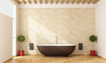 white bathroom: Contemporary bathroom with brown bathtub - 3D Rendering