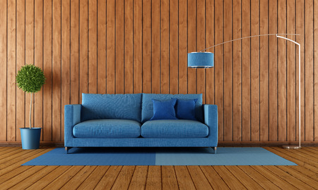 Living room with blue sofa against wooden wall - 3D Rendering