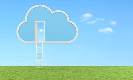 cielos abiertos: Nube con escalera y la puerta se abre en una pradera-Rendering 3D