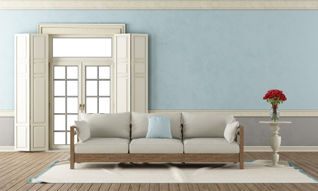 rose window: Classic living room with closed window and elegant sofa - 3D Rendering Stock Photo