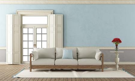 Klassieke woonkamer met gesloten raam en elegante sofa - 3D Rendering Stockfoto