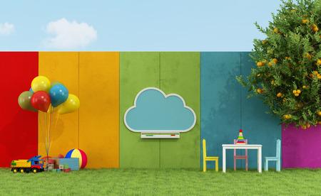 escuelas: Patio de la escuela para ni�os con pizarra nube y juguetes - Rendering 3D