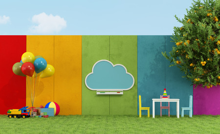 nursery education: School playground for children with cloud chalkboard and toys - 3D Rendering