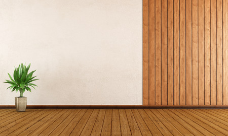 livingroom minimal: Empty room with wood paneling and white wall - 3D Rendering