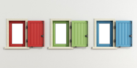 open windows: White facade with three colorful windows with open shutter - 3D rendering